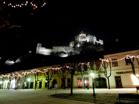 Trencin Castle at night, Slovakia